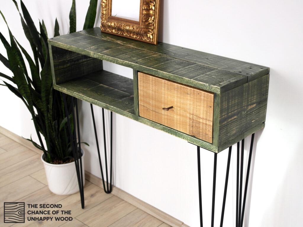 Fiókos konzolasztal újrahasznosított fából